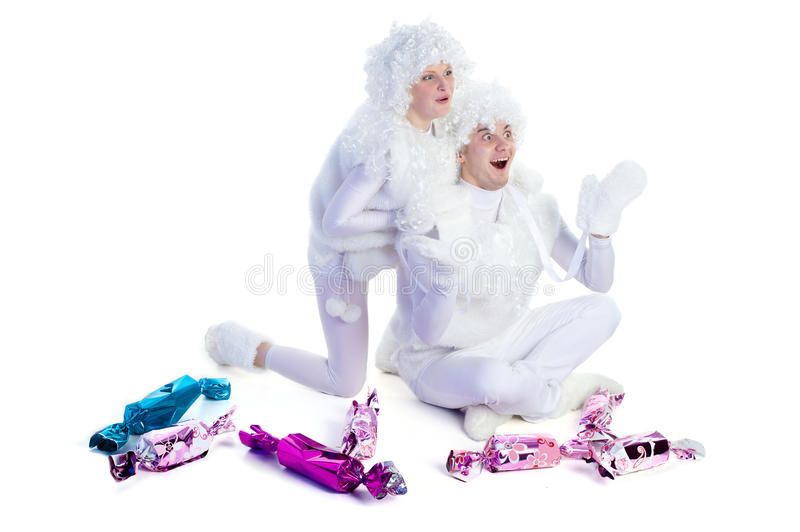 Joyful snowmen stock image