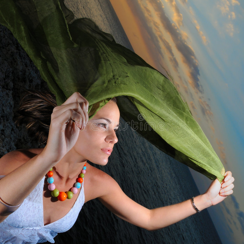 joyful solnedgångkvinna fotografering för bildbyråer