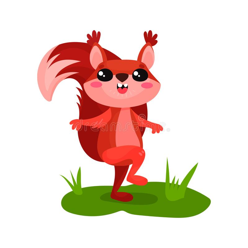 Joyful squirrel walking by green grass. Adorable forest rodent with happy muzzle and fluffy tail. Flat vector icon. Joyful squirrel walking by green grass stock illustration