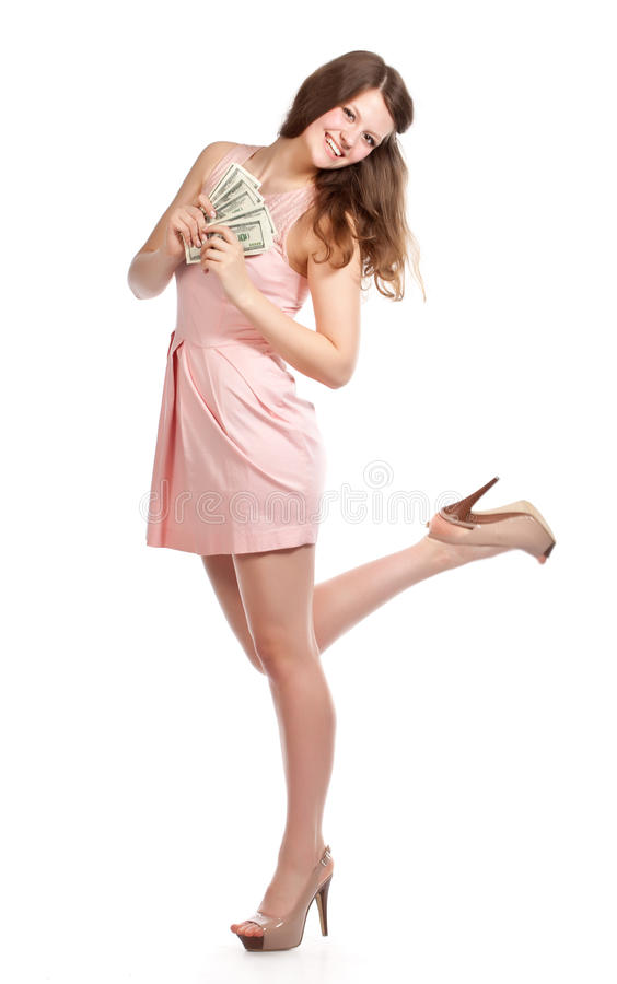 Download Joyful Teenage Girl With Dollars In Her Hands Stock Photo - Image of lovely, face: 24554082
