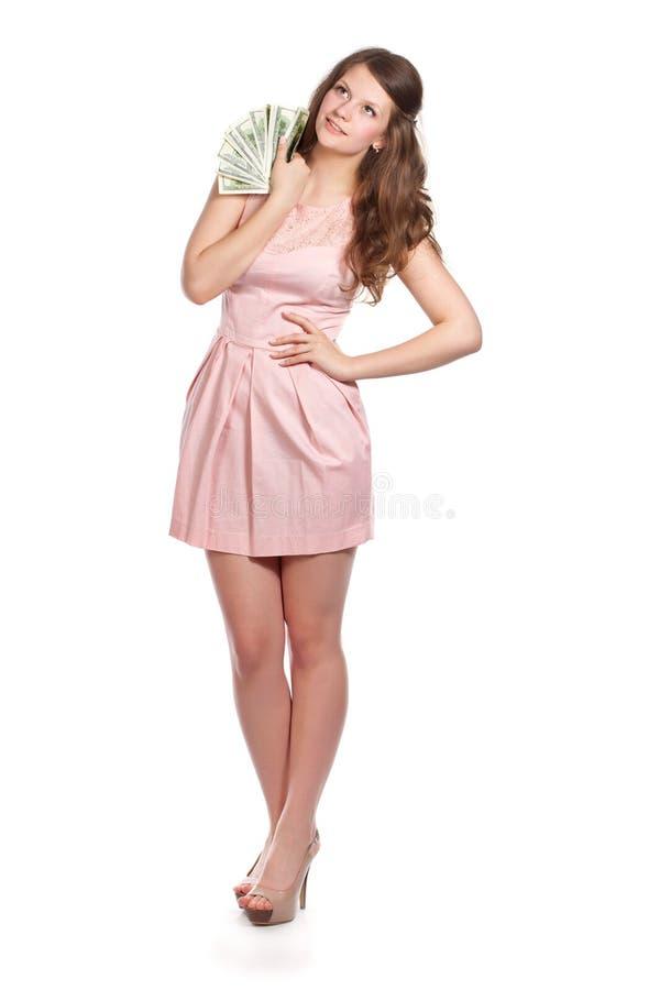 Download Joyful Teenage Girl With Dollars In Her Hands Stock Photo - Image: 25120318