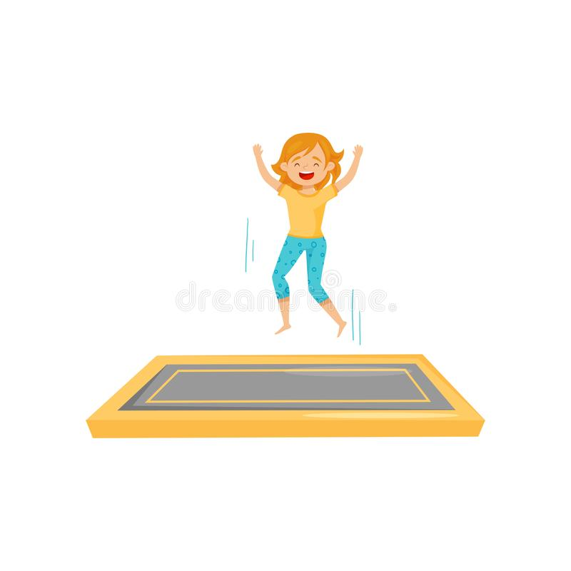 Joyful teenage girl jumping on square trampoline mat with hands up. Active leisure. Flat vector design. Joyful teenage girl jumping on square trampoline mat with vector illustration