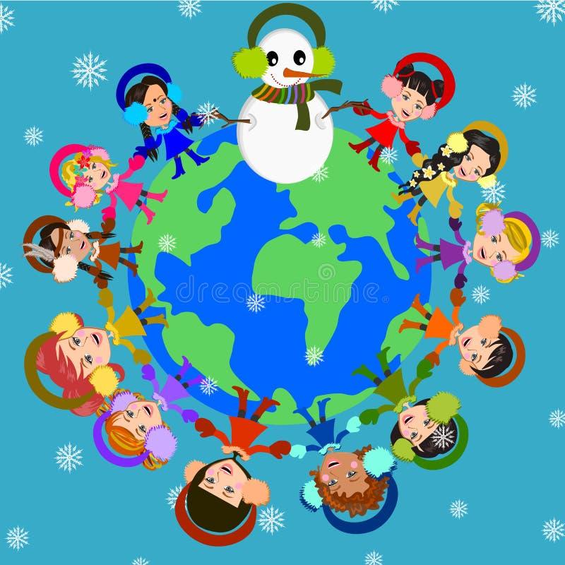 Joyful Winter. Children around the world in winter illustration background vector