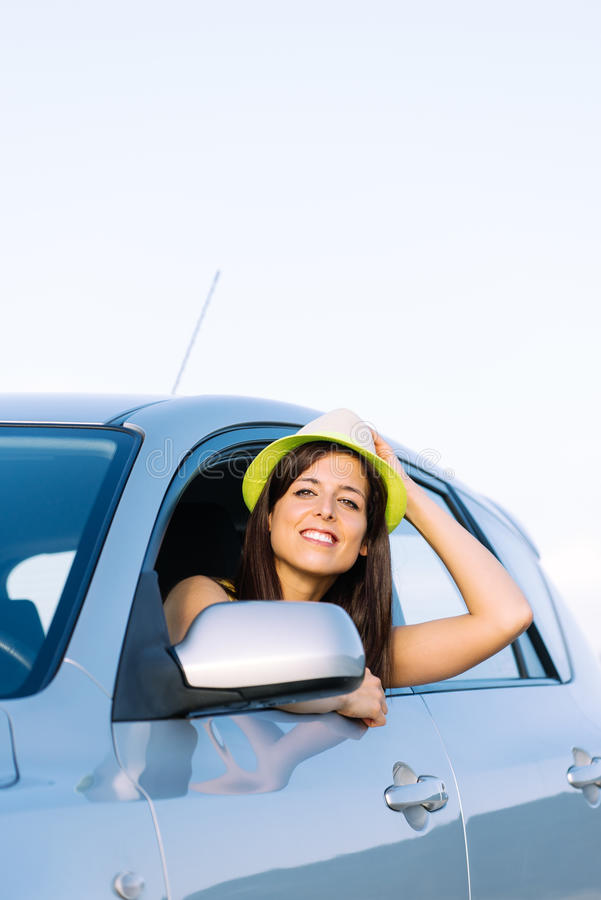 Download Joyful woman on car travel stock photo. Image of caucasian - 36907890