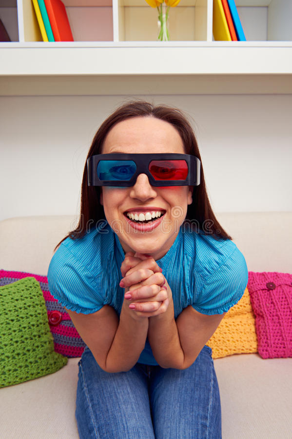 Woman Enthusiastically Watching The Movie Royalty Free Stock Image