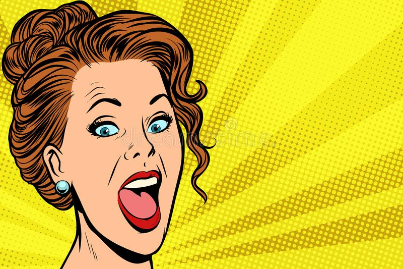 Joyful woman face. Pop art retro vector illustration comic cartoon vintage kitsch stock illustration