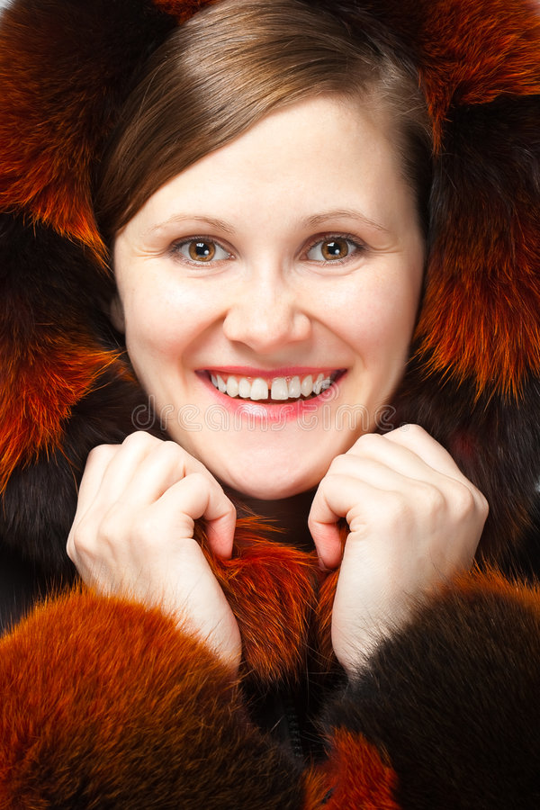 Download Joyful woman in fur stock photo. Image of grin, hood, happy - 8644134