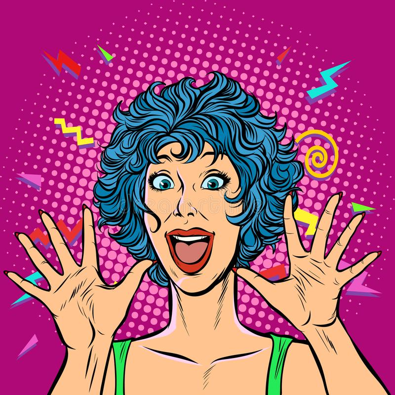 Joyful woman, Girls 80s. Surprised cute smile royalty free illustration