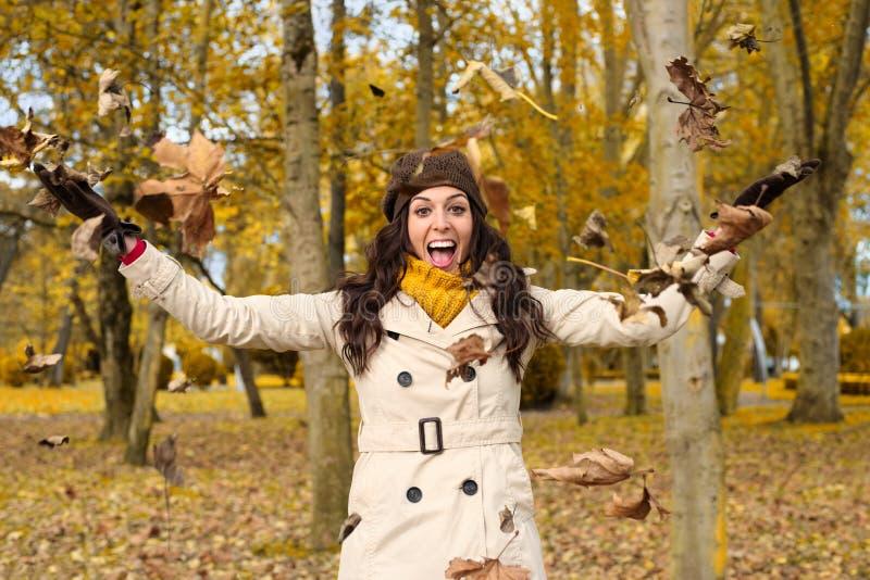Download Joyful Woman Having Fun In Autumn City Park Stock Photo - Image: 42936846