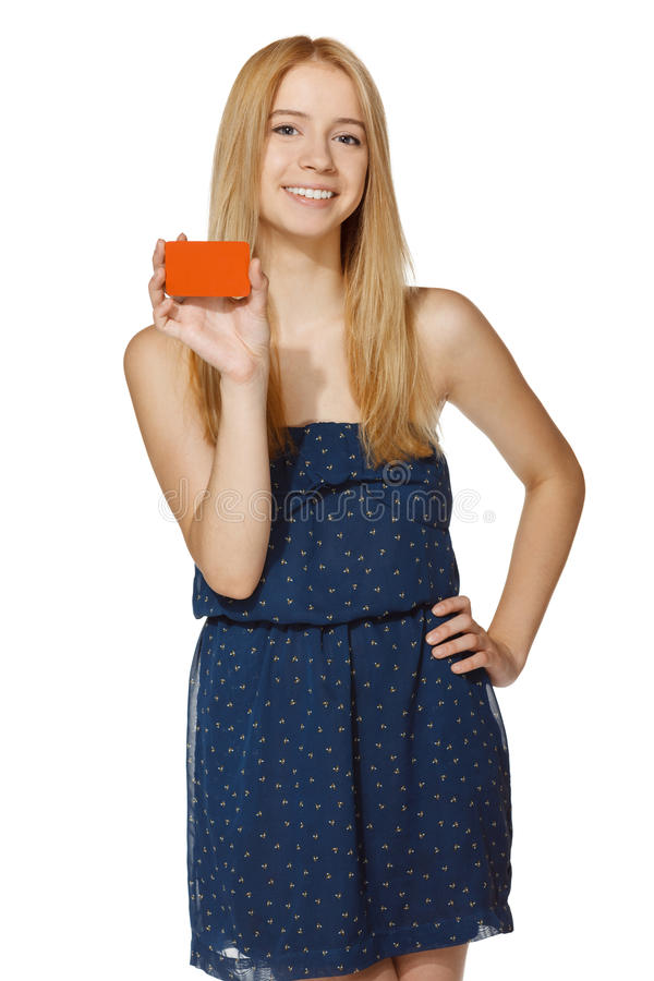 Download Joyful Woman Holding Blank Credit Card Stock Photography - Image: 31240962
