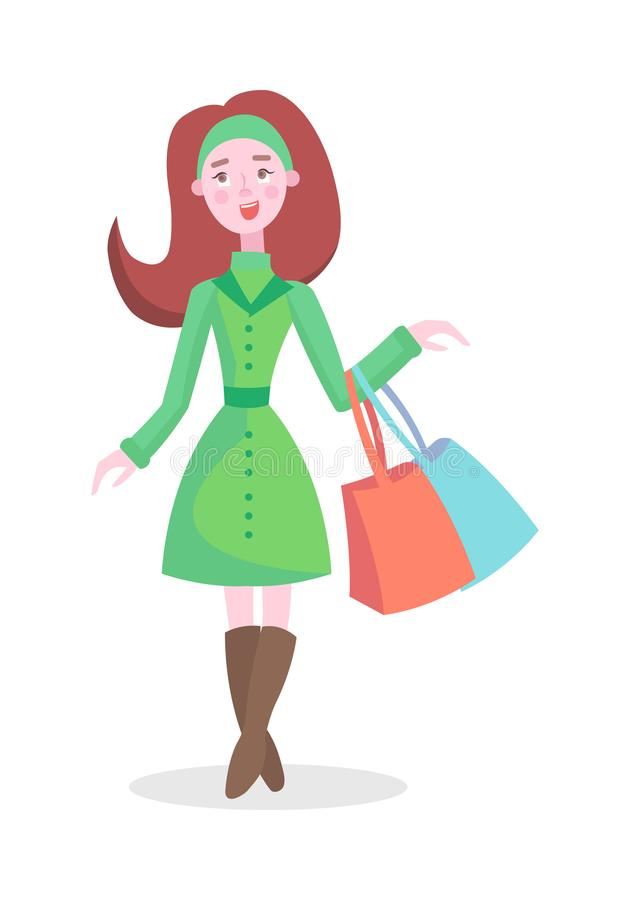 Joyful Woman Shopping Flat Cartoon Vector Icon. Joyful woman with colorful paper bags vector illustration. Holiday shopping flat concept isolated on white stock illustration