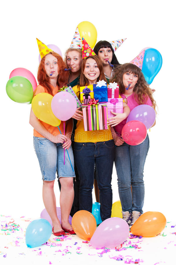 Download Joyful Women With Gifts And Balloons Stock Image - Image: 14440911