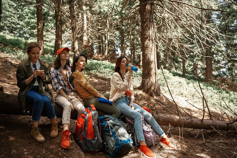 Positive four girls are relaxing during trip in forest stock photography