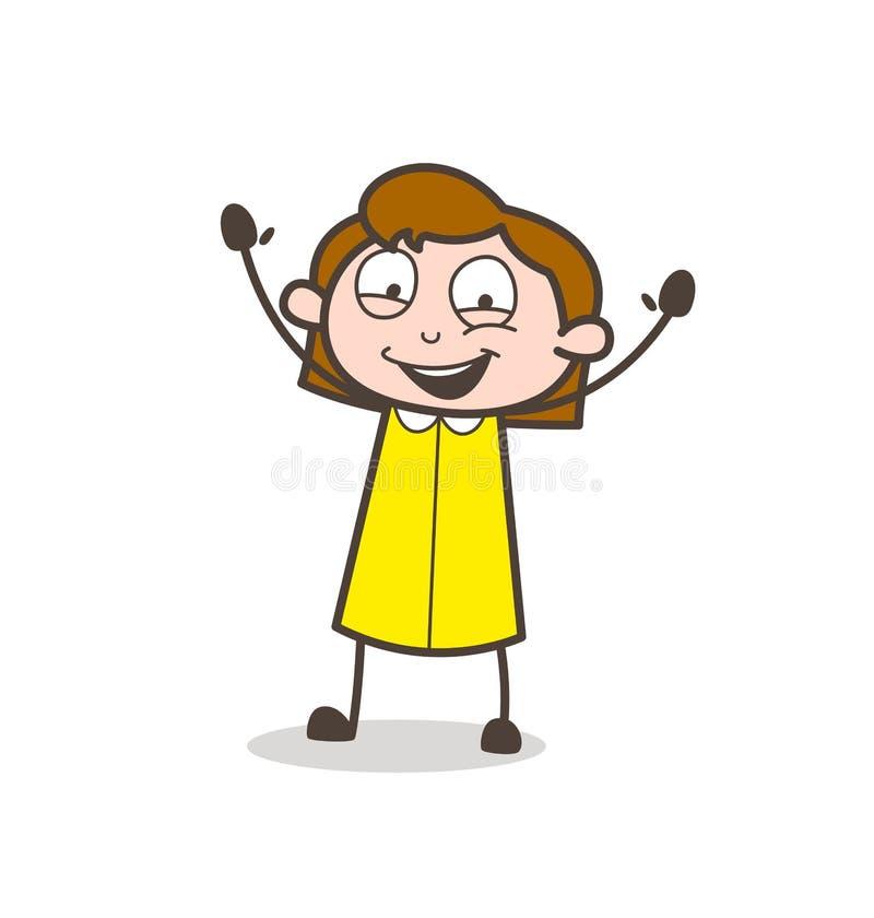 Joyful Young Girl Laughing Face Vector. Design stock illustration