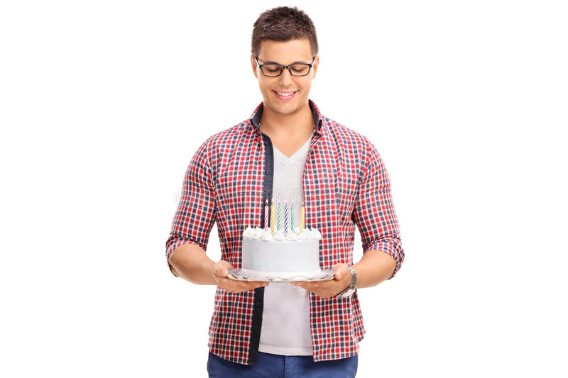 Joyful Young Man Holding A Birthday Cake Stock Photo Image 60046762