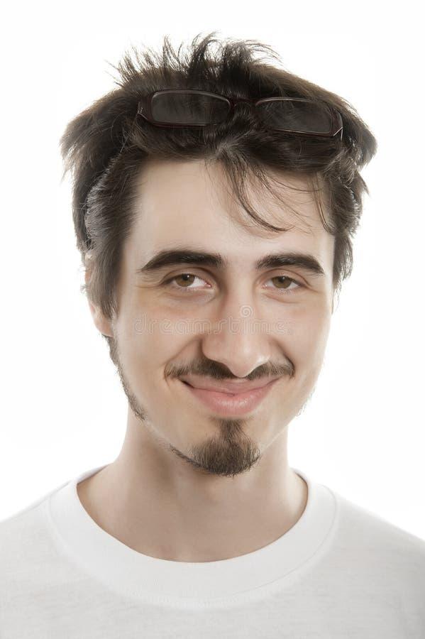 Joyful young man wearing glasses