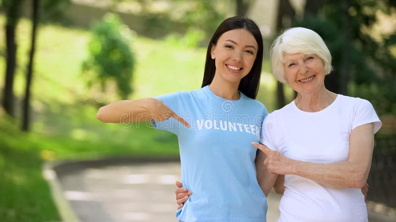 Joyful young woman and aged lady pointing at volunteer word on t-shirt, charity royalty free stock photo