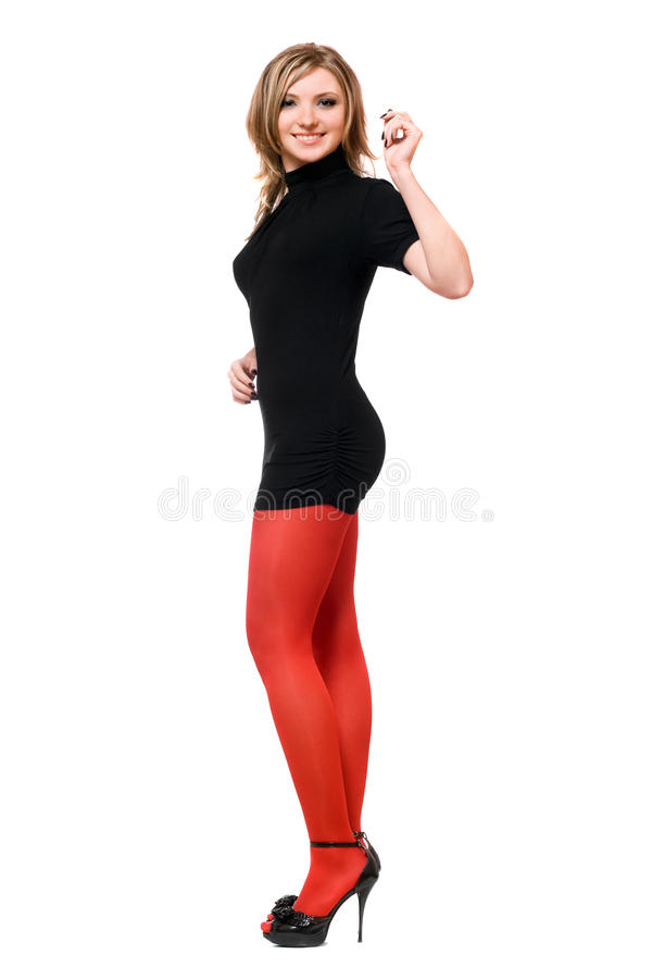 Download Joyful Young Woman In A Black Dress Stock Image - Image of lifestyle, model: 17999167
