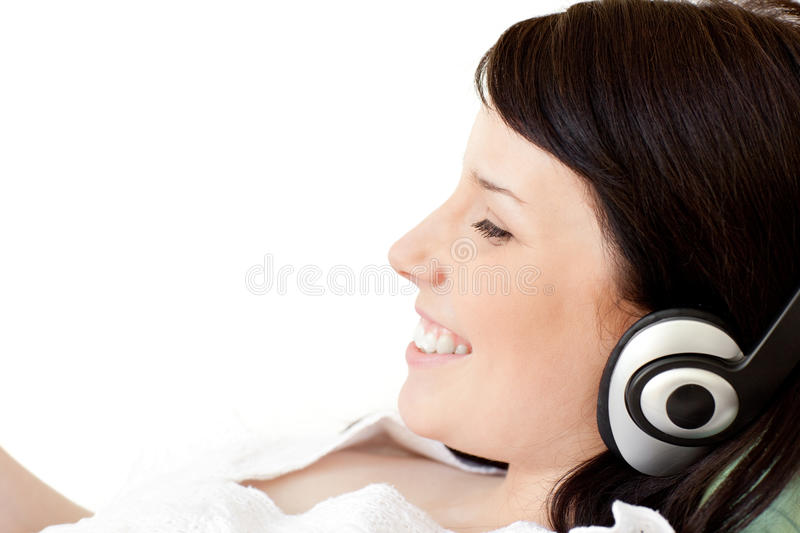 Download Joyful Young Woman Listening Music With Headphones Stock Photo - Image: 14023840