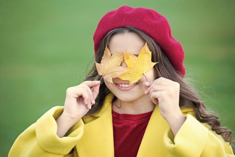 Joyfull and essentially happy. Small girl happy smiling with autumn leaves. Happy girl on autumn day. Small girl wear stock photos