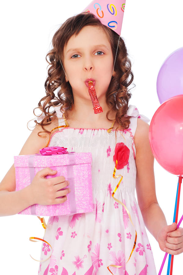 Joyous Girl With Balloons And Gift Box Stock Photo