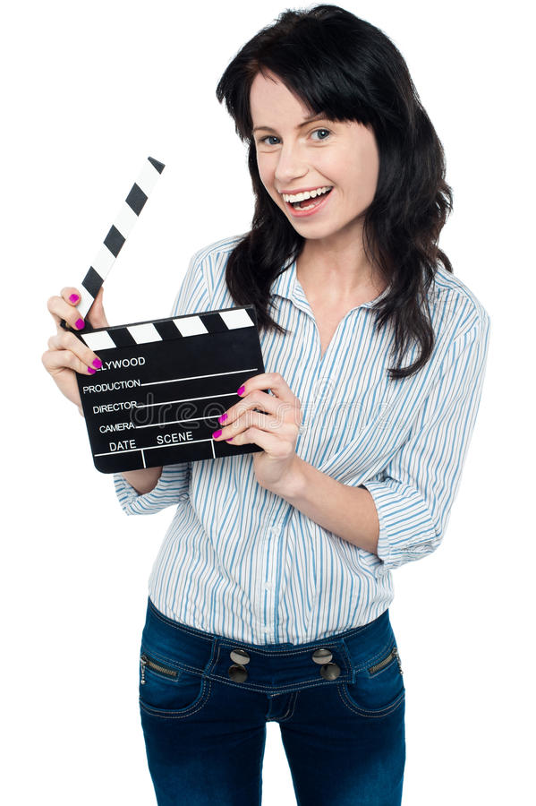 Download Joyous Woman With Clapperboard Stock Photo - Image: 28796254