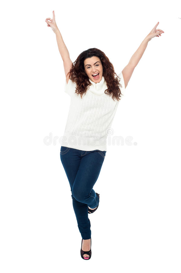Download Joyous Woman Dancing With Arms Raised Stock Image - Image: 28570499