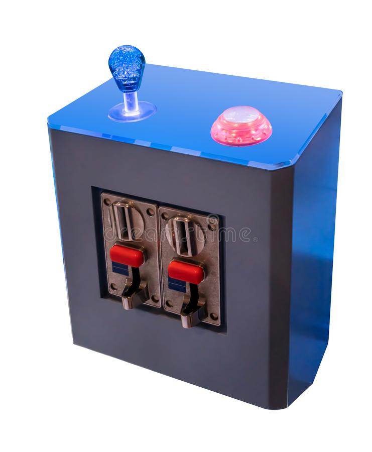 Joystick or arcade controller with coin acceptor in blue and red color. Scheme isolated on white stock image