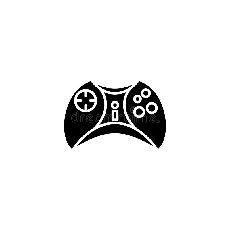 Joystick black icon concept. Joystick flat vector symbol, sign, illustration. Joystick black icon concept. Joystick flat vector website sign, symbol vector illustration