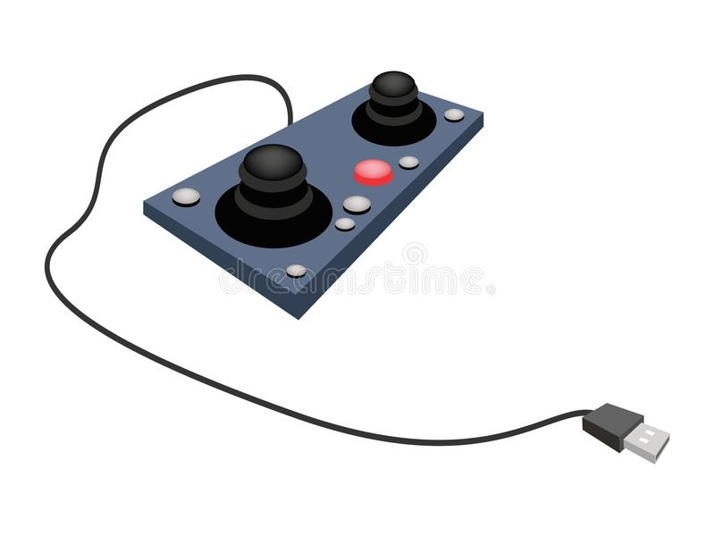 Joystick or Control Column on White Background. Computer and Technology, Illustration of Two Joystick or Control Column Used to Control Video Games or vector illustration
