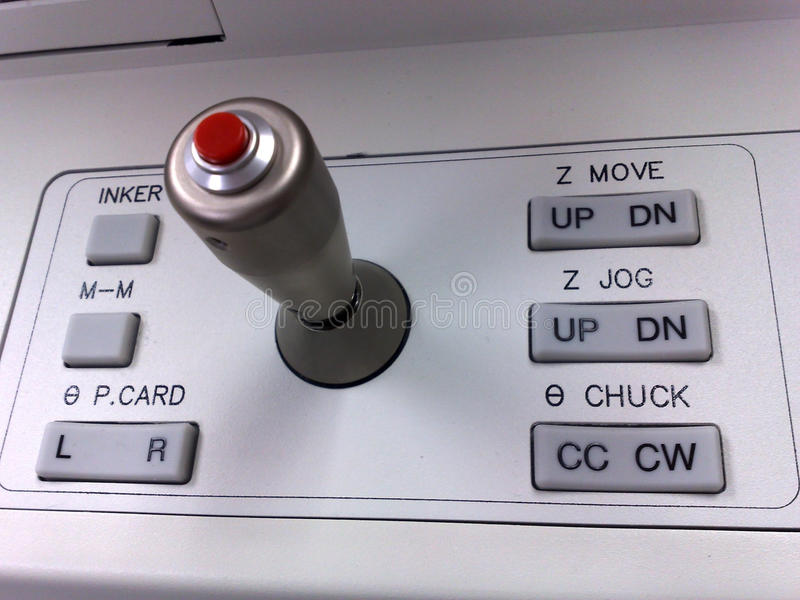 The Joystick and control keys. Of the control station stock photos