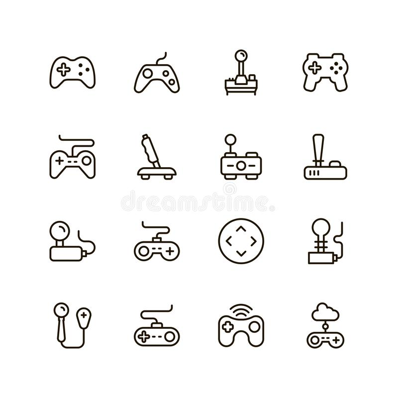 Joystick flat icon. Joystick icon set. Collection of high quality outline game pictograms in modern flat style. Black control symbol for web design and mobile stock illustration