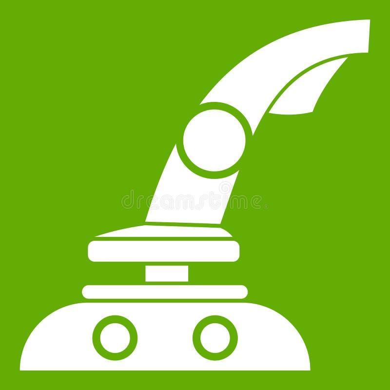 Joystick icon green. Joystick icon white isolated on green background. Vector illustration royalty free illustration