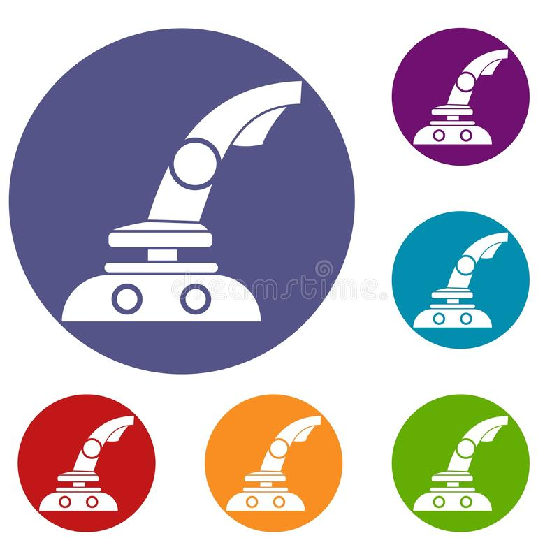 Joystick icons set. In flat circle reb, blue and green color for web stock illustration
