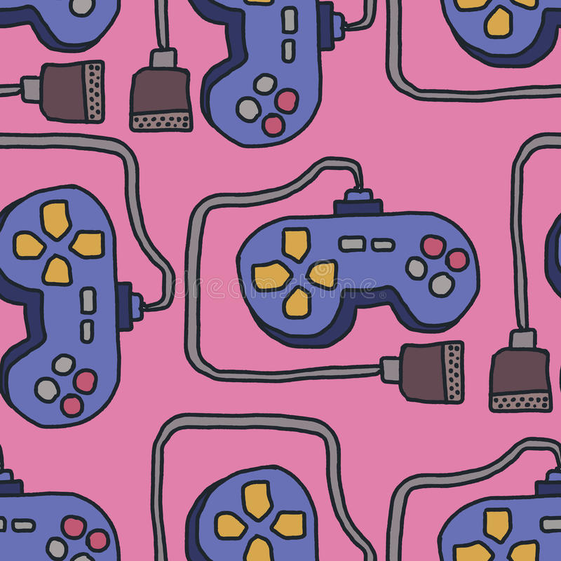 Joystick Pattern. Retro gamepad background. Video Games Controller Ornament stock illustration