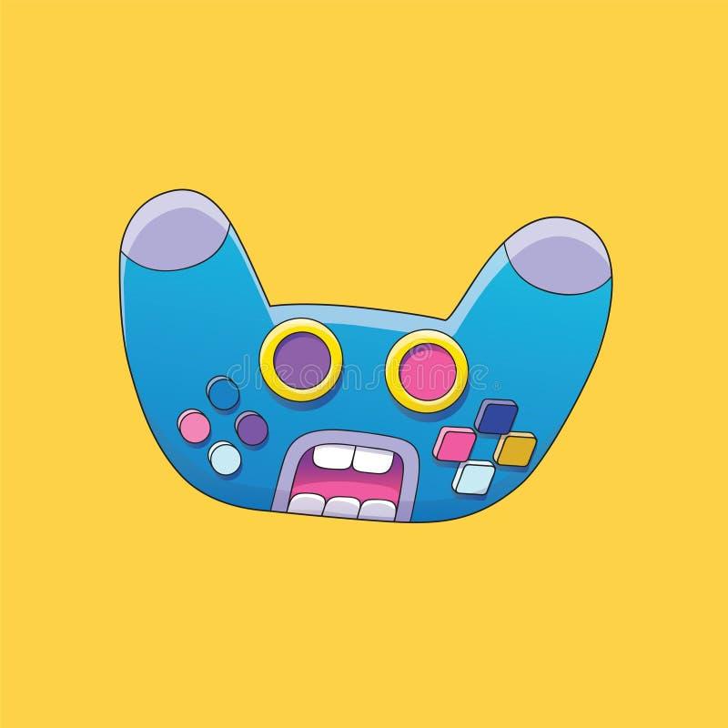 Joystick postaci z kreskówki twarz Kontrolera wektoru ilustracja Gniewny Krzyczący Bezprzewodowy Gamepad obrazy royalty free