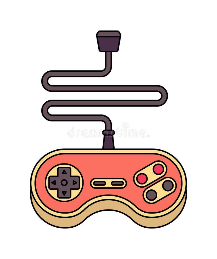 joystick Retro Gamepad Regolatore del videogioco vecchio illustrazione di stock