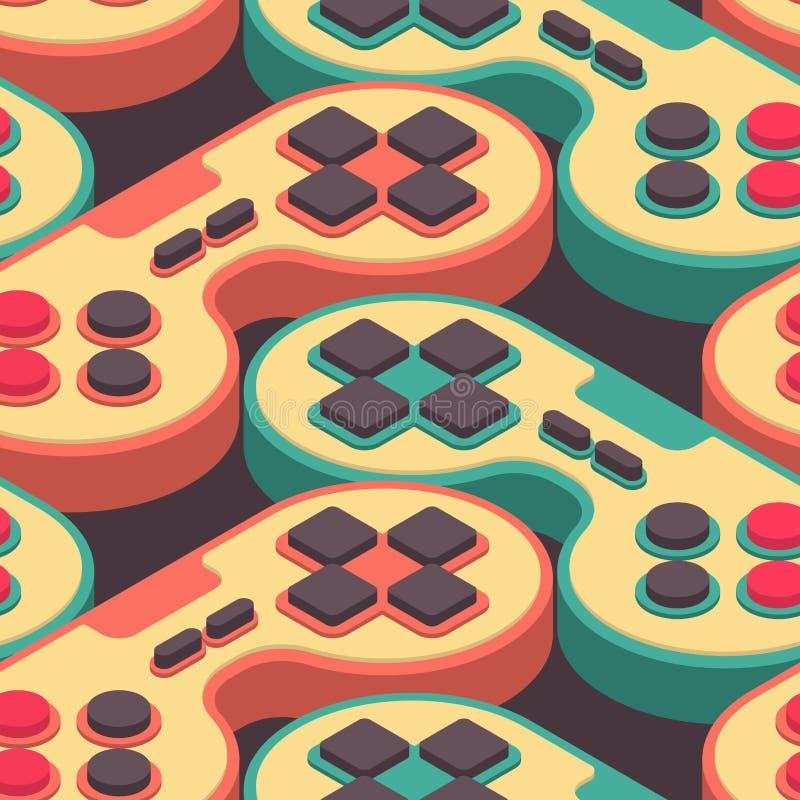 Joystick retro seamless pattern. Gampad Game console 8 bit stock illustration