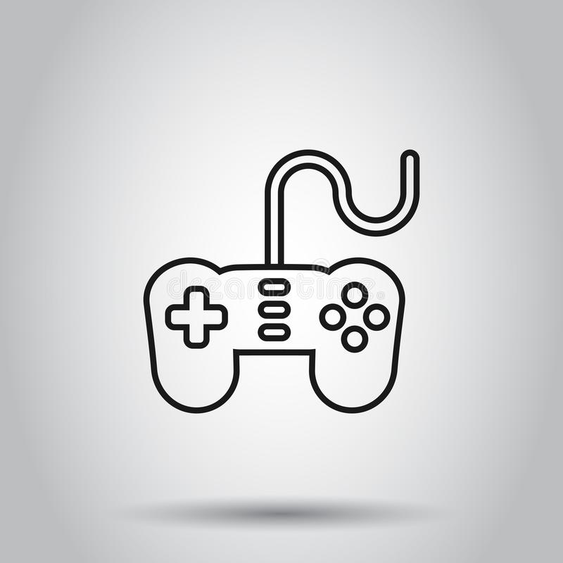 Joystick sign icon in flat style. Gamepad vector illustration on isolated background. Gaming console controller business concept.  stock illustration