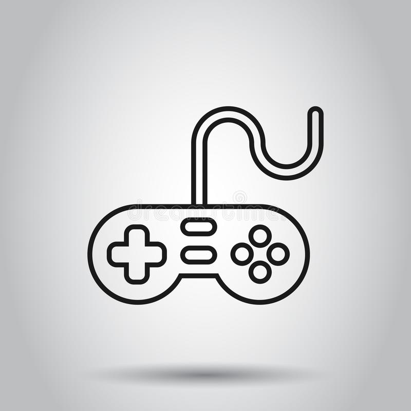 Joystick sign icon in flat style. Gamepad vector illustration on isolated background. Gaming console controller business concept.  vector illustration
