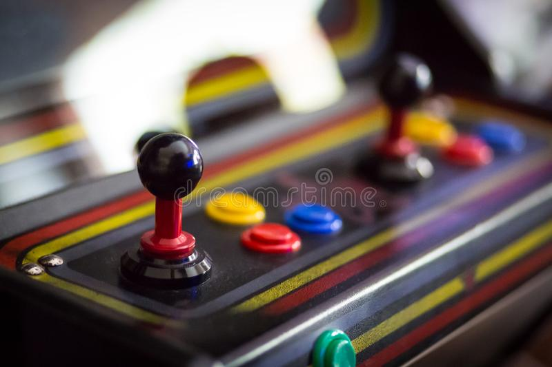 Joystick of a vintage arcade videogame - Coin-Op royalty free stock photo