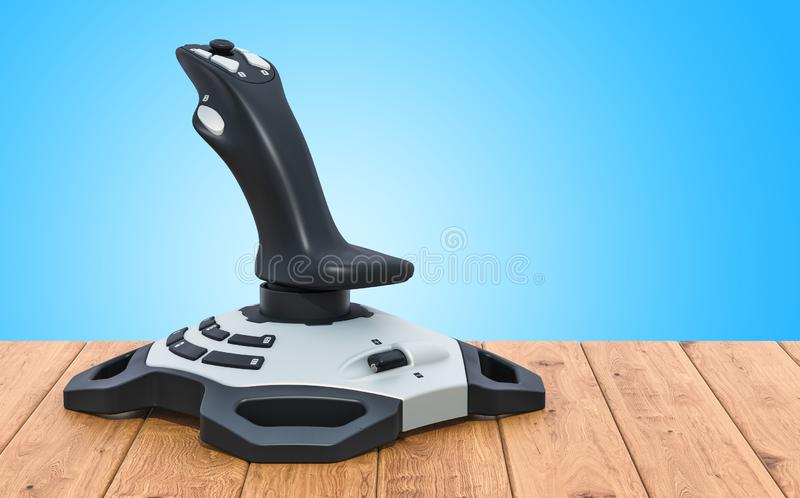Joystick on the wooden table. 3D rendering. Joystick on the wooden table. 3D royalty free illustration