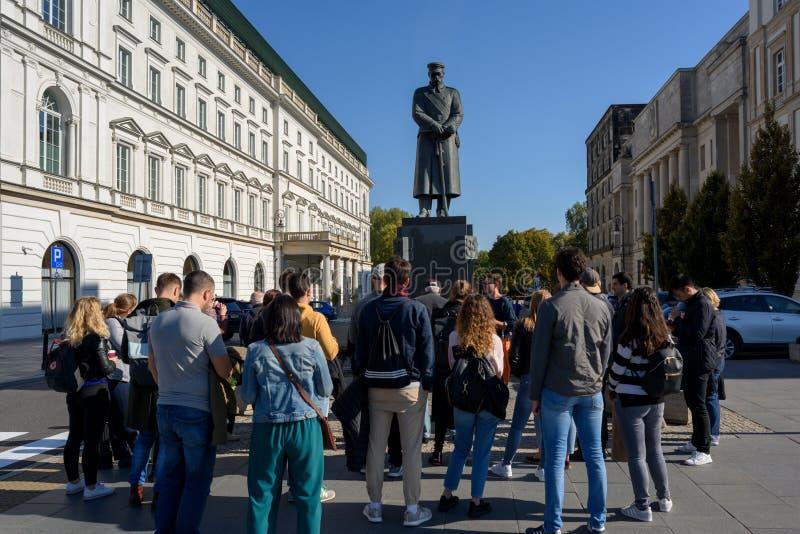 Jozef Pilsudski Monument in Warschau, stockbilder