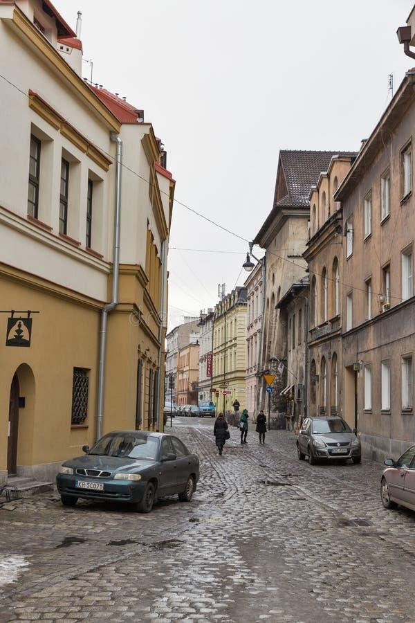 Jozefa street in Kazimierz Jewish district. Krakow, Poland. stock photos
