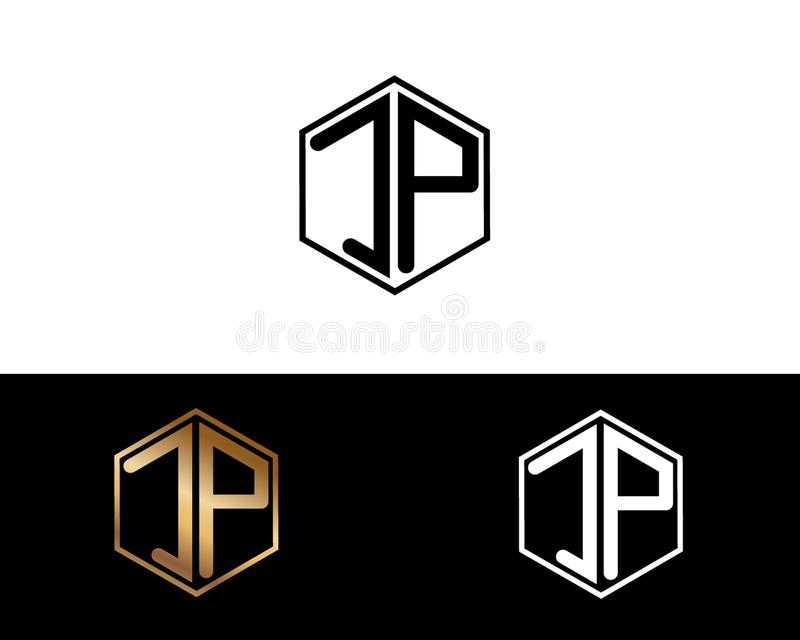 JP-Buchstaben verbunden mit Hexagonformlogo lizenzfreie abbildung