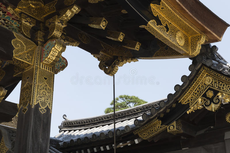 Kyoto Nijo Castle main gate details royalty free stock image
