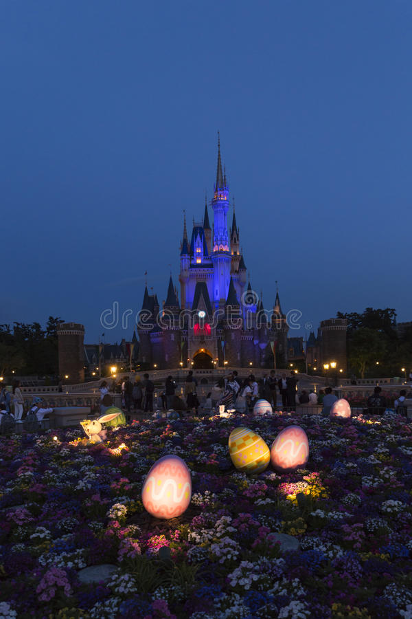 Tokyo Disneyland Cinderella castle in blue light 28 stock photography