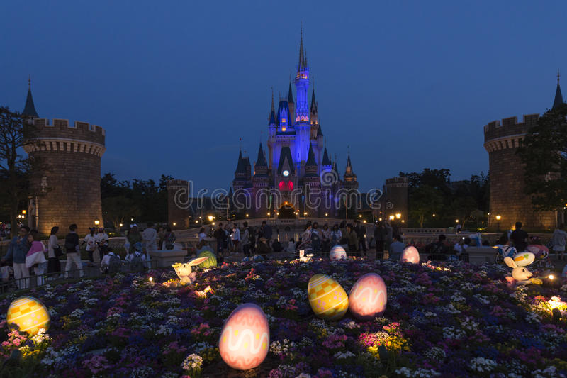 Tokyo Disneyland Cinderella castle and Easter eggs stock images