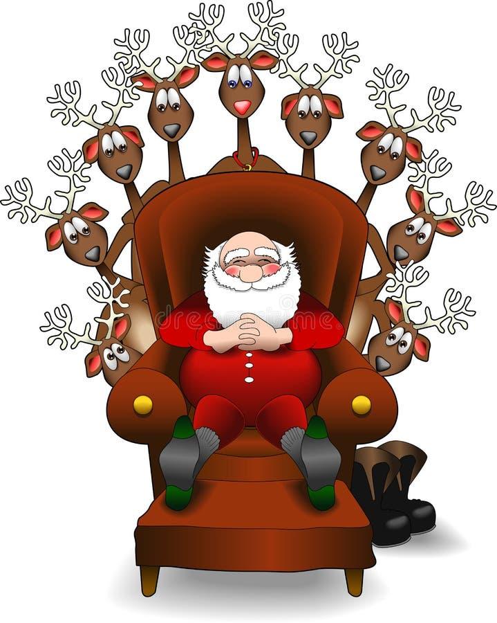 jpg reniferowy relaksujący Santa ilustracja wektor