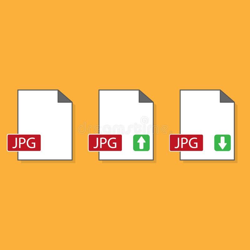 JPGdateiformatikone, Vektorillustration Flache Designart Vektor JPGdateiformat-Ikonenillustration lokalisiert auf weißem Hintergr stock abbildung